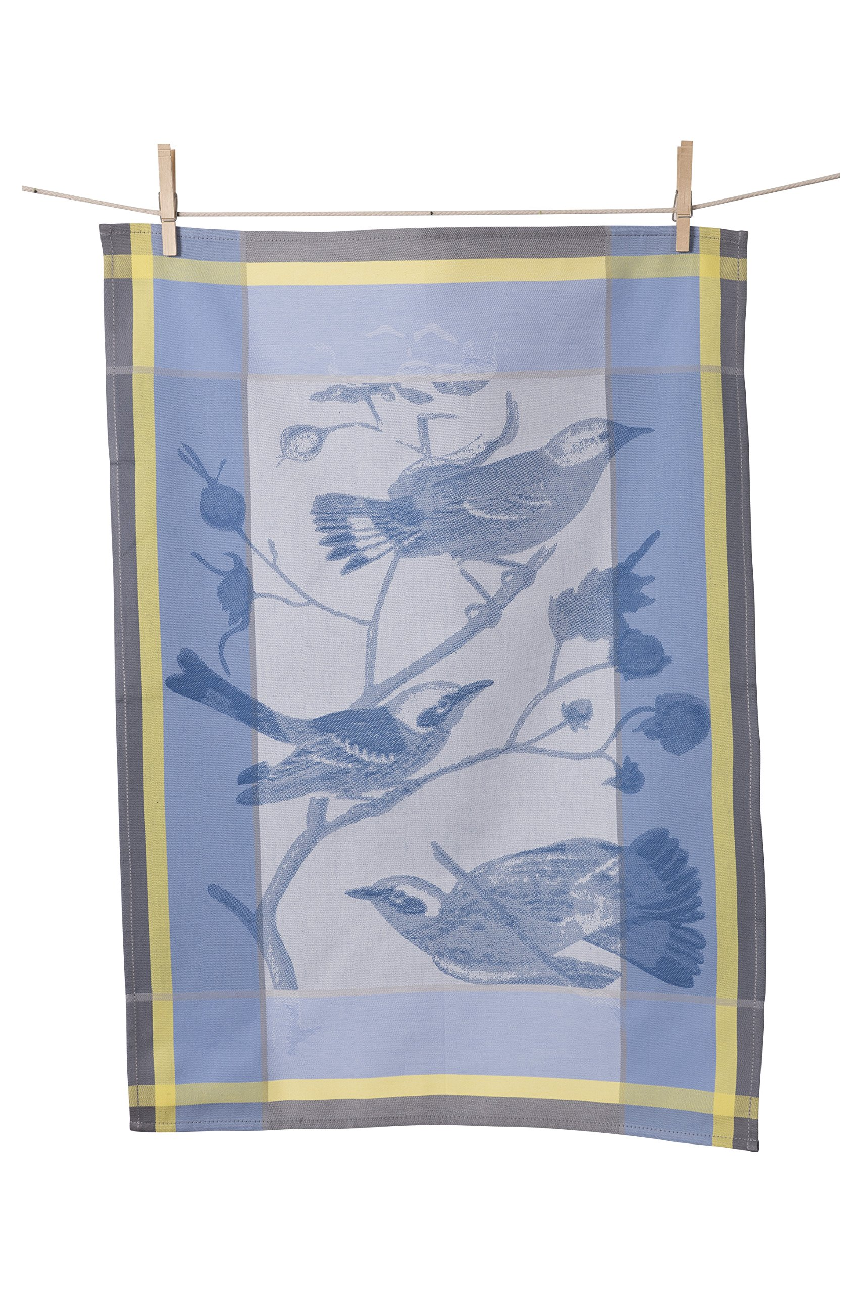 KAF Home Porto Jacquard Kitchen Towel, 100% Cotton, Absorbent, Oversized at 19.5'' x 30'', Made in Portugal, Birds