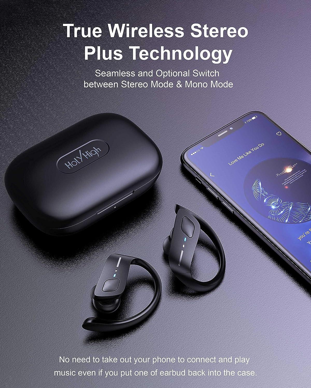 HolyHigh Bluetooth Kopfh/örer Sport Kabellos Bluetooth 5.0 Kopfh/örer in Ear Wireless Kopfh/örer mit Mikrofon IPX7 Wasserdicht 30H Spielzeit Ladebox Stereo f/ür Kinder M/änner Frauen iOS Android