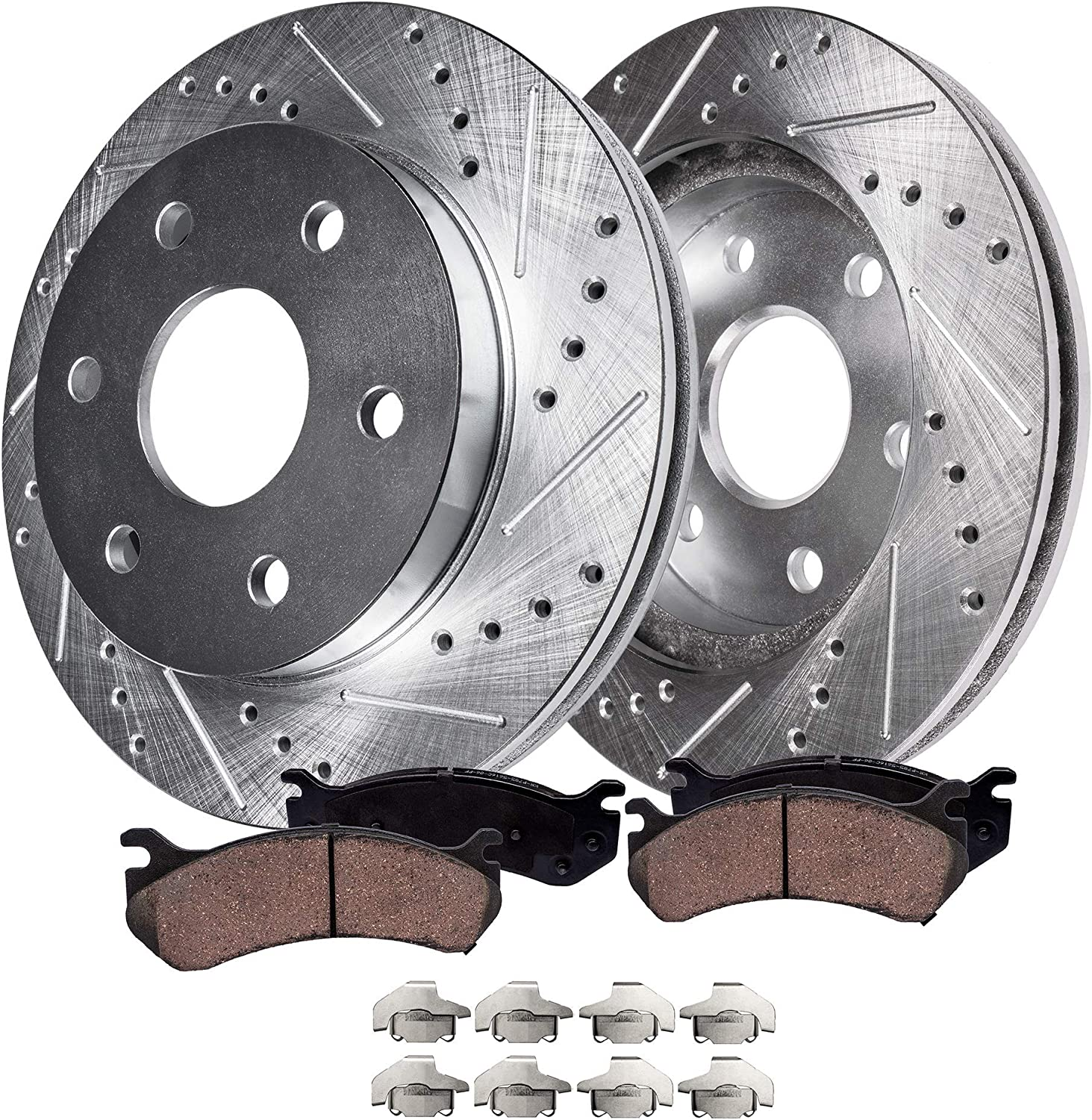 F+R 4 Cross Drilled Rotors /& 8 Ceramic Pads for 2013-2015 Hyundai Santa Fe Sport