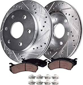 Detroit Axle - S-55097BK Front Brake Kit, Drilled Slotted Bake Rotors with Ceramic Brake Pads and Brake Hardware Clips