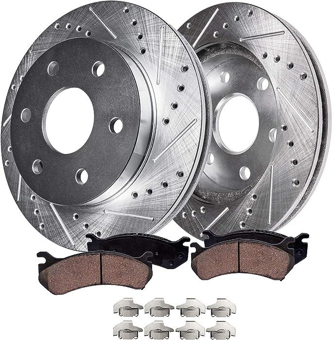 Detroit Axle - S-55097BK Front Brake Kit, Drilled Slotted Bake Rotors with Ceramic Brake Pads and Brake Hardware Clips