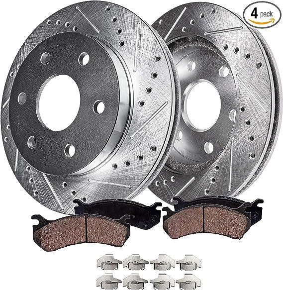 5lug 2 Black Coated Cross-Drilled Disc Brake Rotors Heavy Tough-Series 4 Ceramic Pads Fits:- Acura Honda Isuzu Front Kit