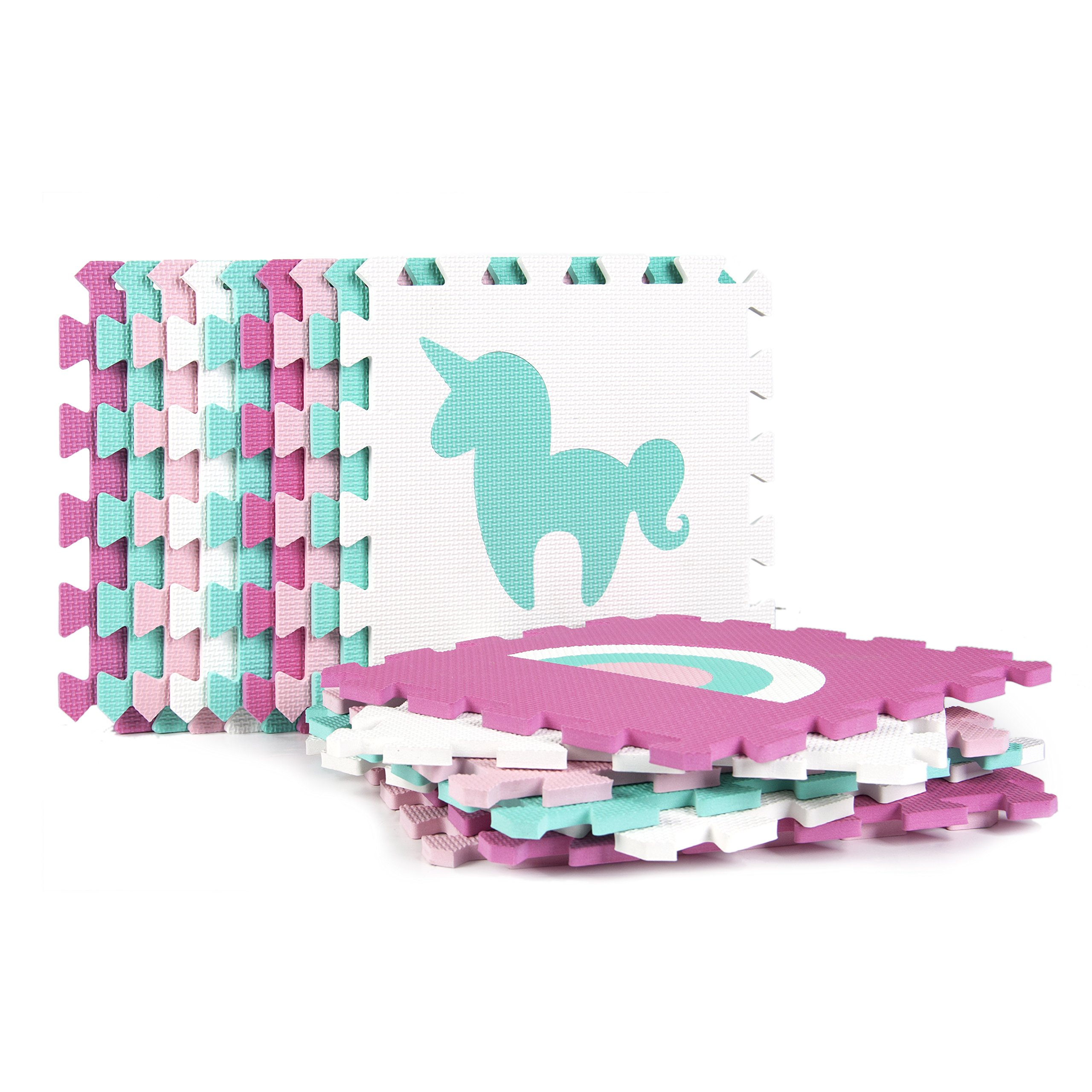 Tadpoles Soft EVA Foam 16pc Playmat Set, Unicorns and Rainbows, Pink, 50''x50'' by Tadpoles (Image #2)