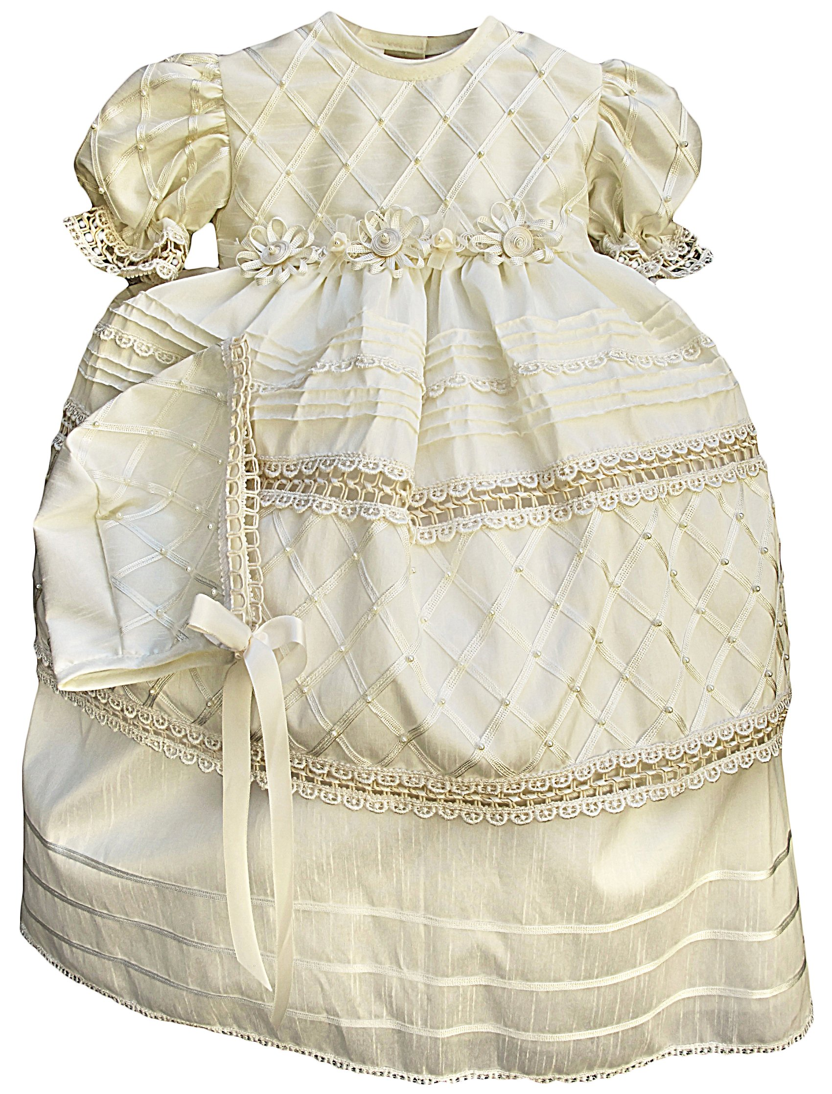 Baby-girls Heirloom Christening Baptism Gown Dress (Burbvus Ropones) Handmade - Silk by Burbvus (Image #6)
