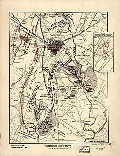Amazon com: 1863 Map of the Battle of Gettysburg, Penna