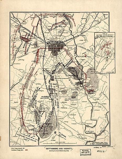 Amazon.com: Mapa cartel – Gettysburg y alrededores Mostrando ...