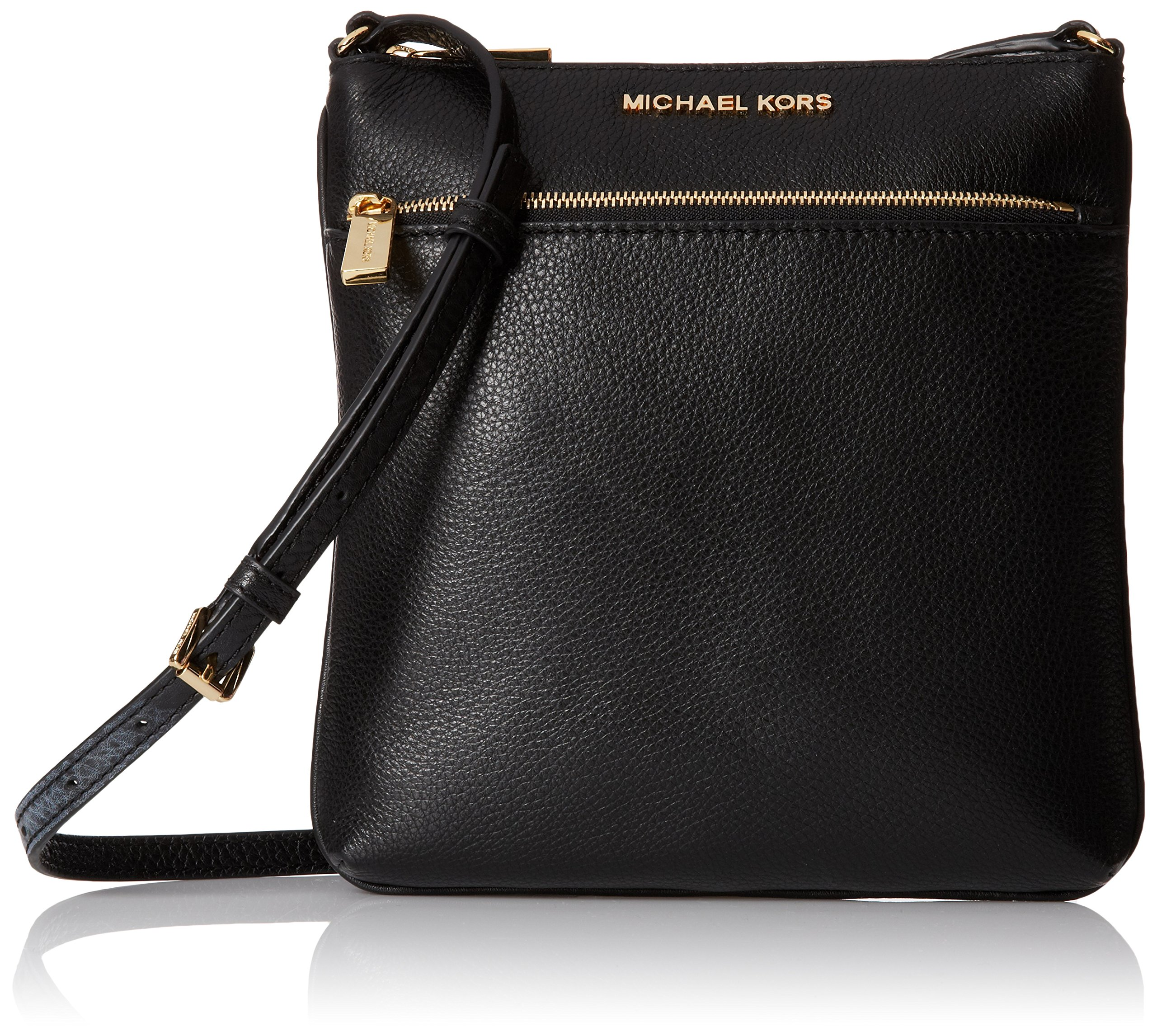 Michael Kors Mk Riley Small Leather Crossbody, Black, Small