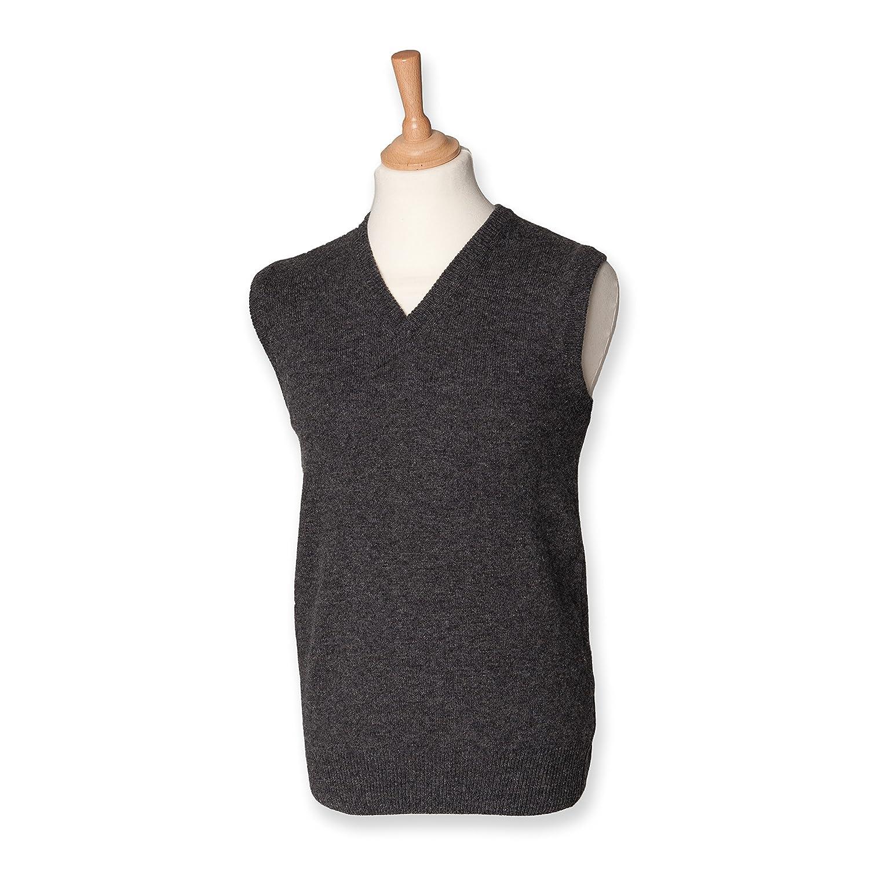 Henbury lambswool sleeveless V neck charcoal XL