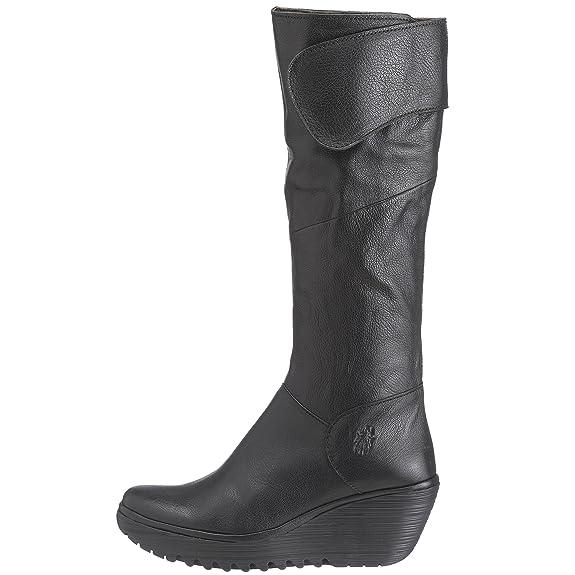 Fly London Yule, Botas De Caña Alta Con Cuña Mujer, Negro (Black 008), 37 EU / 4 UK: Amazon.es: Zapatos y complementos