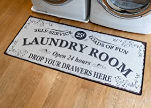 Softwoven Rugs, 24x56 Laundry Room Rug, Funny Non Skid Rubber Area Rugs, %85 Cotton, Machine Washable, Runner Floor Mat for Washroom, Bathroom, Kitchen Decor, Self Service-Load of Fun-Open 24 Hours