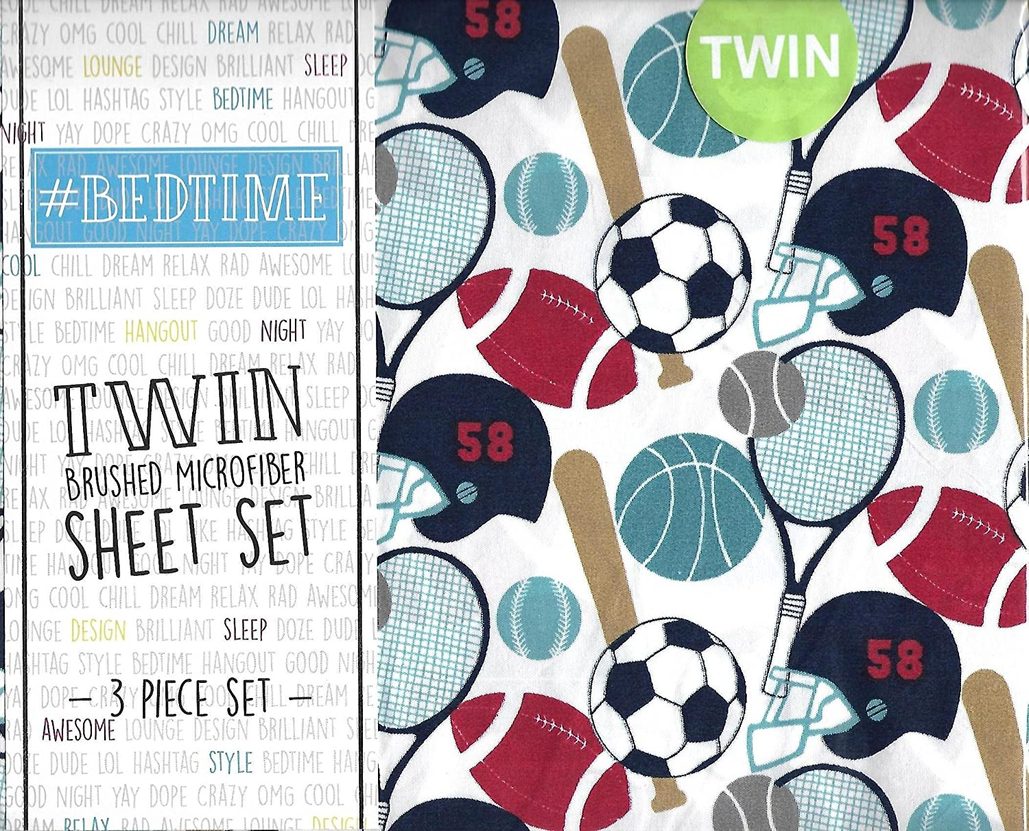 #Bedtime Varsity Sports 3 Piece Twin Sheet Set Football Baseball Soccer Basketball Tennis