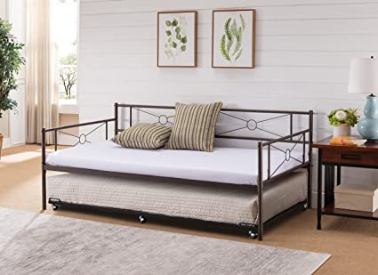 Amazon.com: Kings Brand Ewen Pewter Metal Twin Size Daybed Frame ...