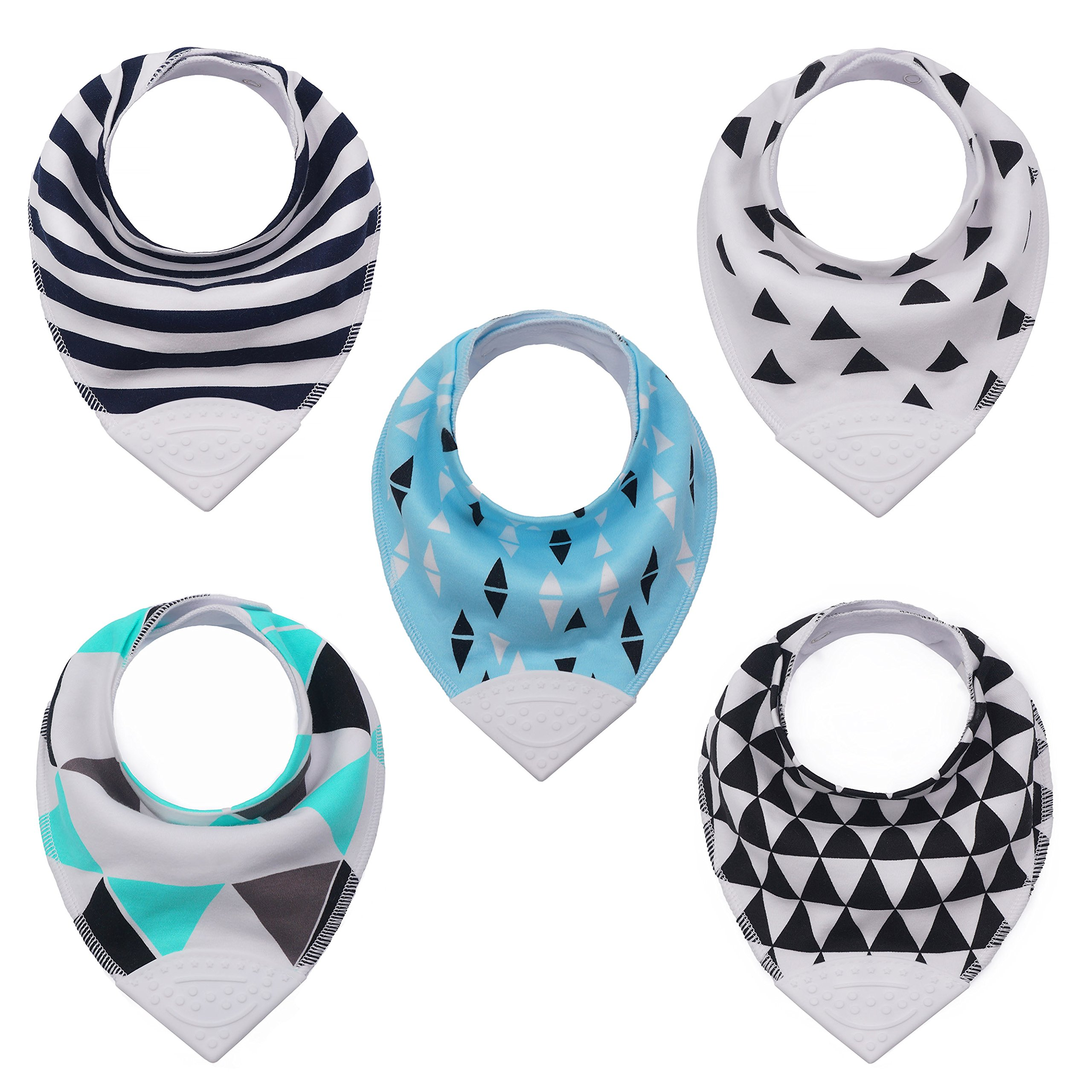 Baby & Toddler Bandana Teething Bib with BPA-Free Silicone Teether and Adjustable Snap for Boys and Girls, (5-Pack) by Giftty