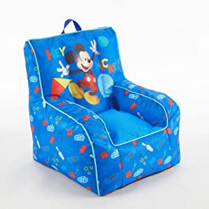 Disney Mickey Mouse Kids Nylon Bean Bag Chair with Piping & Top Carry Handle