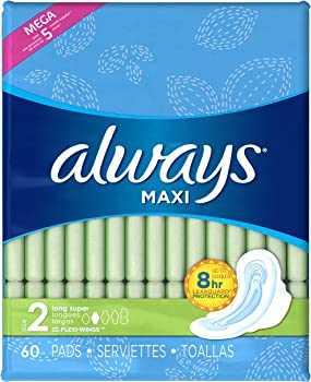 180-Count Always Maxi Size 2 Long Pads with Wings (Unscented)