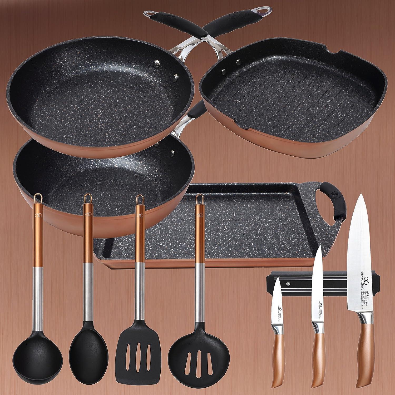 Bergner Infinity Chefs: Batería Grandes Grill 28x28 cm Sartén Wok Ø28 cm Plancha asador 30x23 cm. + 3 Cuchillos + 4 Utensilios de Cocina, Bronce/Negro: ...