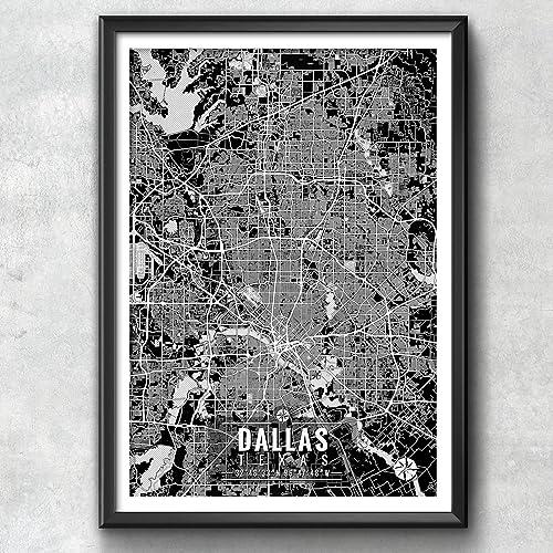 Amazon.com: Dallas Texas Map with Coordinates, Dallas Map, Map Art ...
