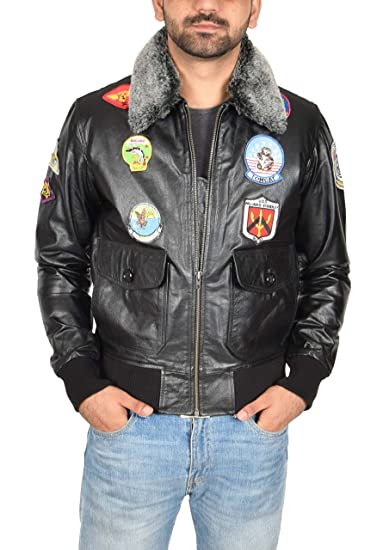 6447bd67ca0 Mens Leather Air Force Pilot Top Gun Style Bomber Flying Jacket Hank Black  (Small)
