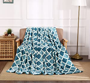 All American Collection Super Soft Ultra Comfort Plush Microfiber Solid Throw Blanket for Couch Home Bedroom Living Room (King, Beverly Teal/Aqua Trellis)