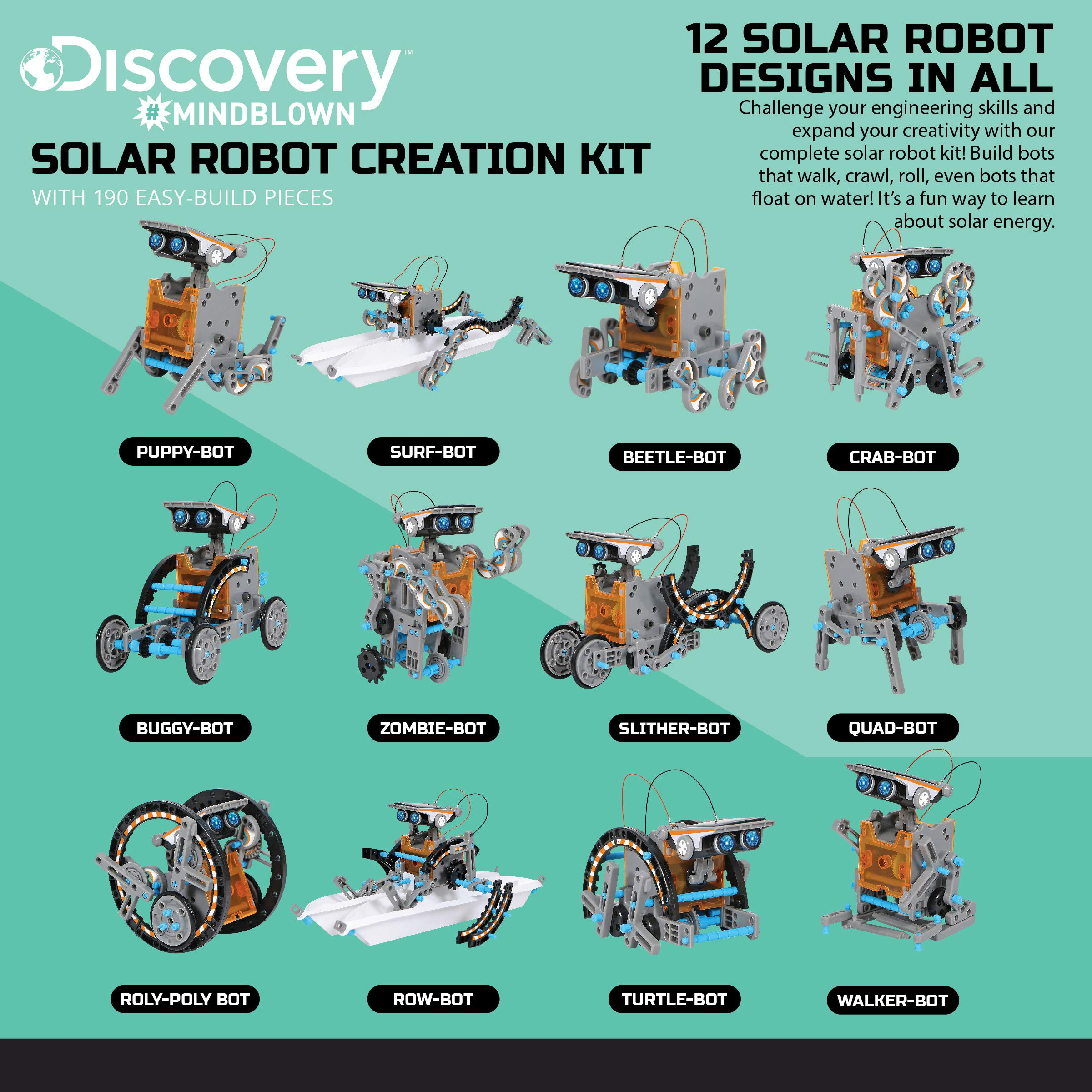 DISCOVERY KIDS Mindblown STEM 12-in-1 Solar Robot Creation 190-Piece Kit with Working Solar Powered Motorized Engine and Gears, Construction Engineering Set by Discovery Kids (Image #4)
