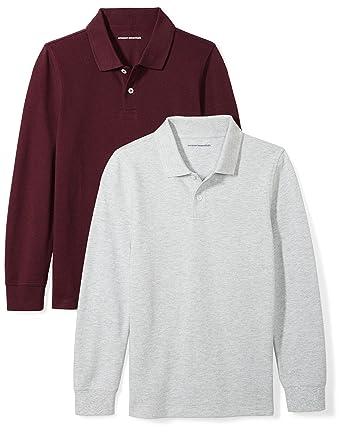 705574b2 Amazon Essentials Little Boys' 2-Pack Long-Sleeve Pique Polo Shirt, Burgundy