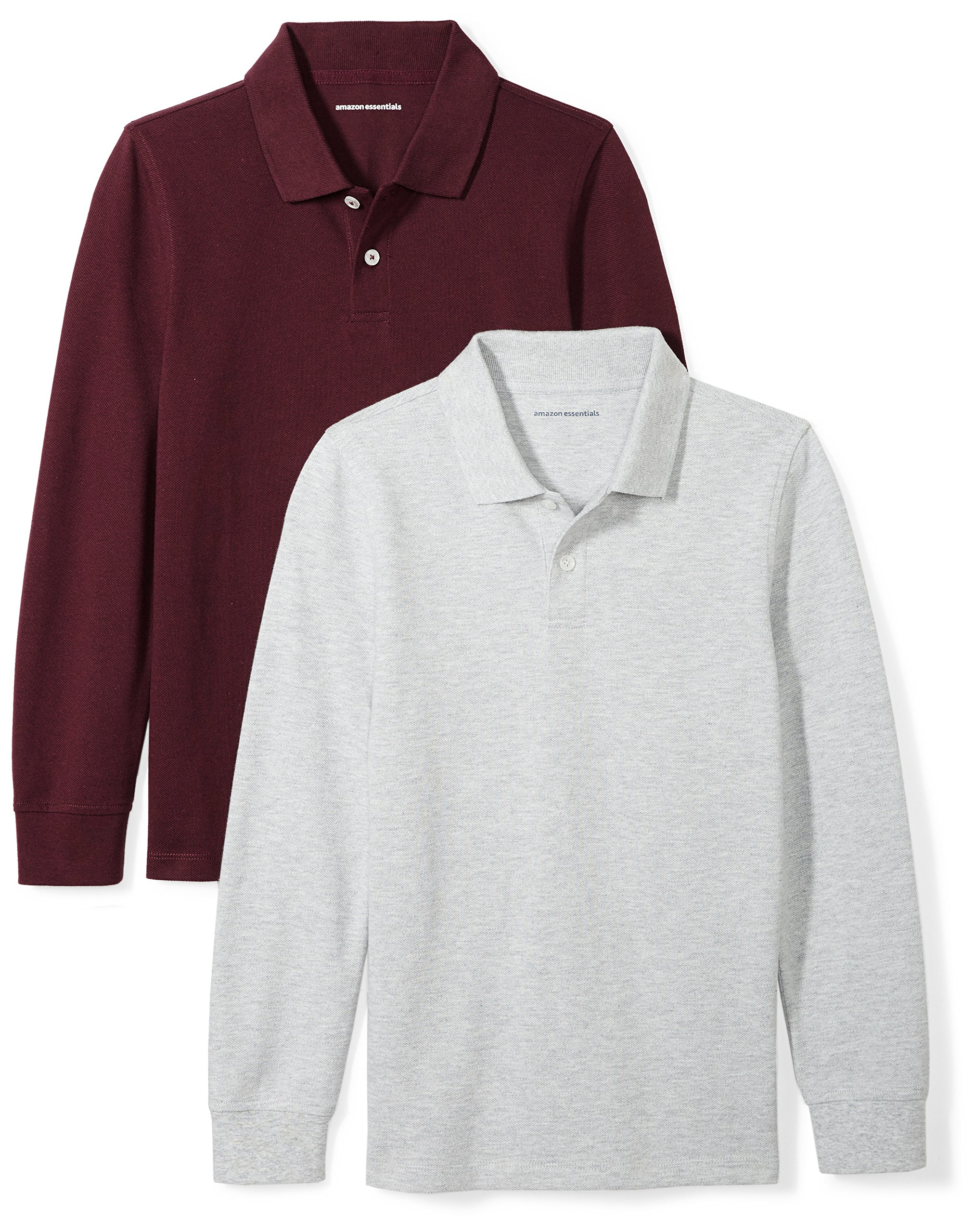 Amazon Essentials Boys' 2-Pack Long-Sleeve Pique Polo Shirt, Burgundy/Heather Grey, M (8)