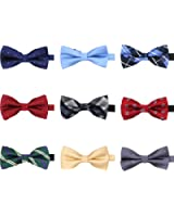 AVANTMEN 9 PCS Pre-tied Adjustable Bow Ties Set for Men in Gift Box Mixed Color Assorted Ties