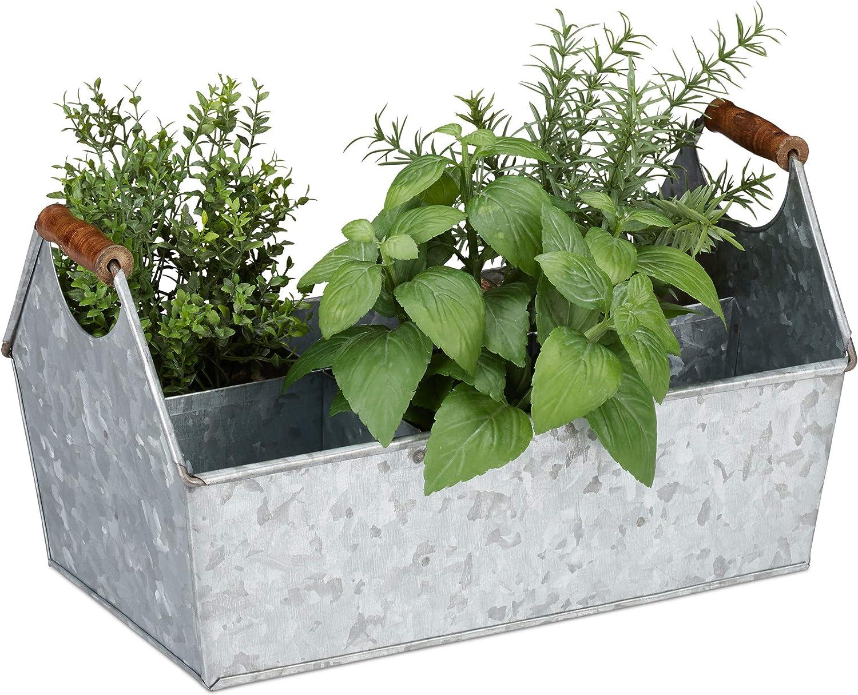 Relaxdays, Plateado, Jardinera Metal 6 Compartimentos con Asas, Hierro Galvanizado, 19 x 36 x 20 cm