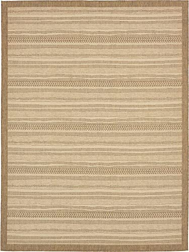 Unique Loom Outdoor Border Collection Striped Moroccan Transitional Indoor and Outdoor Flatweave Beige Area Rug 9 0 x 12 0