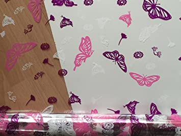 Pink butterfly print 100m cellophane wrap rolls for all gift wrapping purposes
