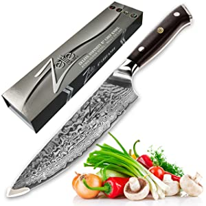 ZELITE INFINITY Chef Knife 8 inch - Alpha-Royal Series - Best Quality Japanese AUS10 Super Steel 67 Layer Damascus - Razor Sharp, Superb Edge Retention, Stain & Corrosion Resistant Chefs Knives