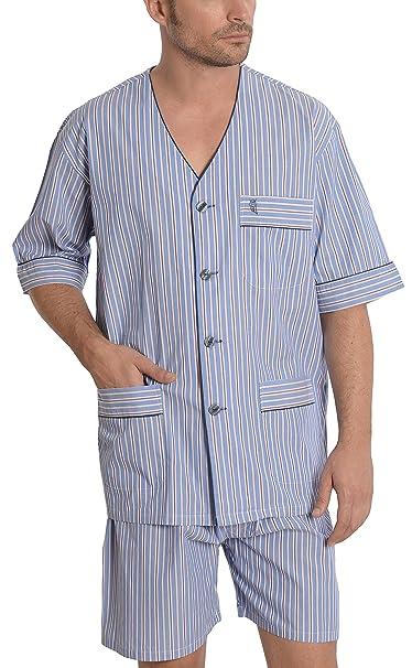 Pijama de Caballero Corto clásico a Rayas/Ropa de Dormir para Hombre - Tela Popelín