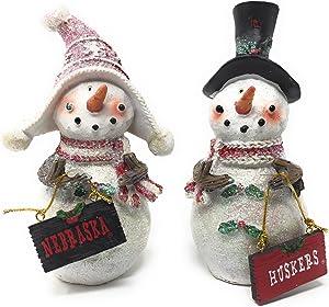 Hanna's Handiworks Set 2 Licensed University of Nebraska Cornhuskers Snowman Standing Decorations