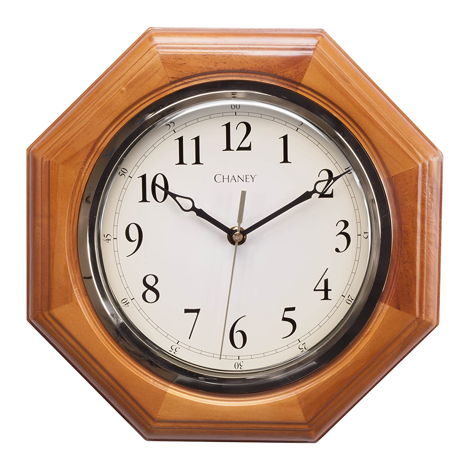 Amazon chaney 46101a1 12 inch octagon wood clock home kitchen amipublicfo Choice Image