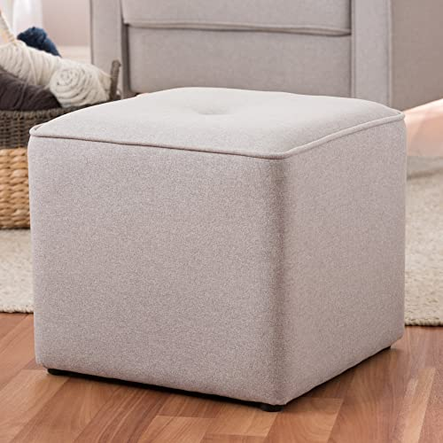 Baxton Studio Upholstered Ottoman in Light Gray