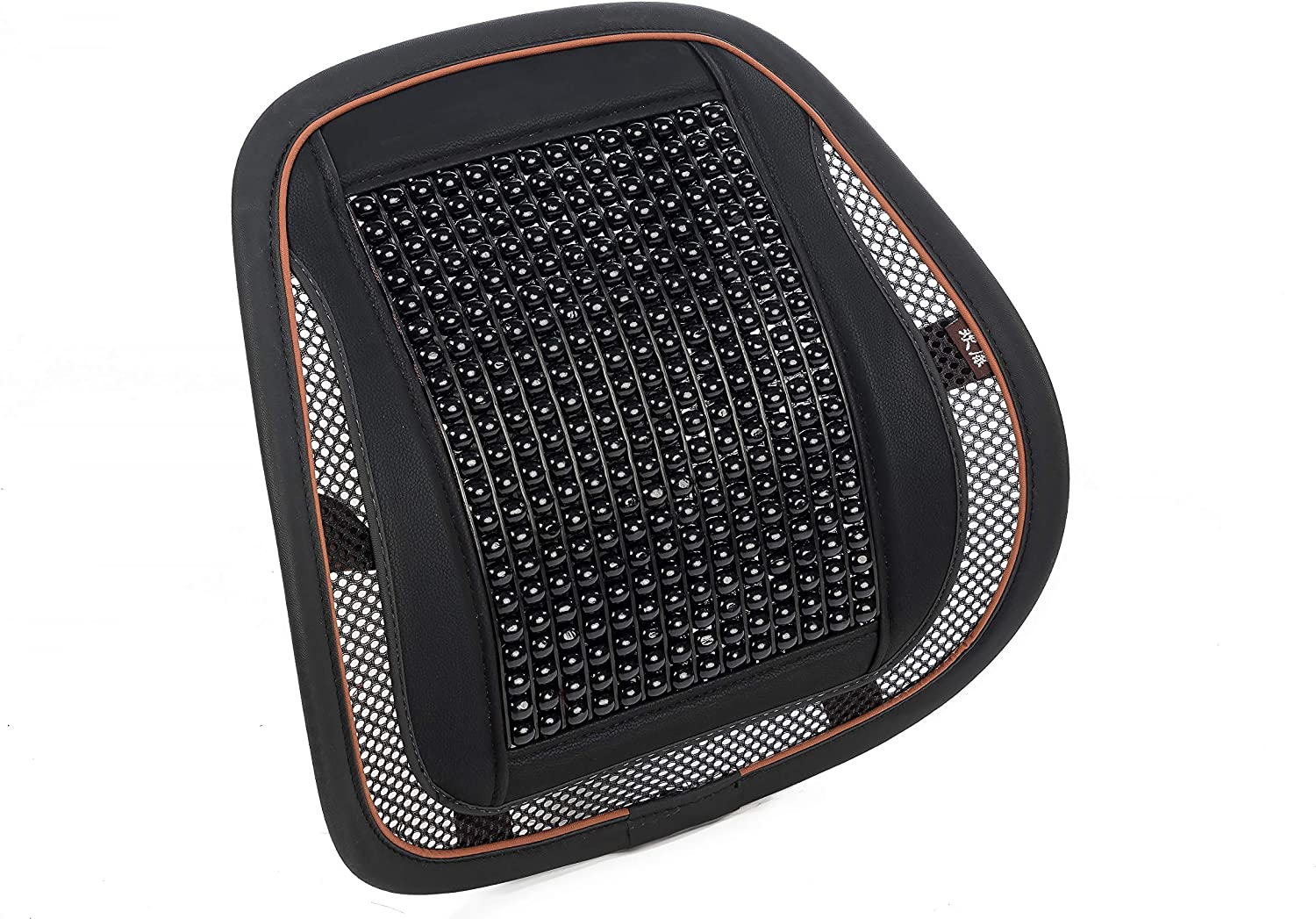 KENNISI Adjustable Durable Lumbar Mesh Support Cushion for Car Seat Office Chair Black Breathable Bead Mesh Back Posture Support for Driving Black