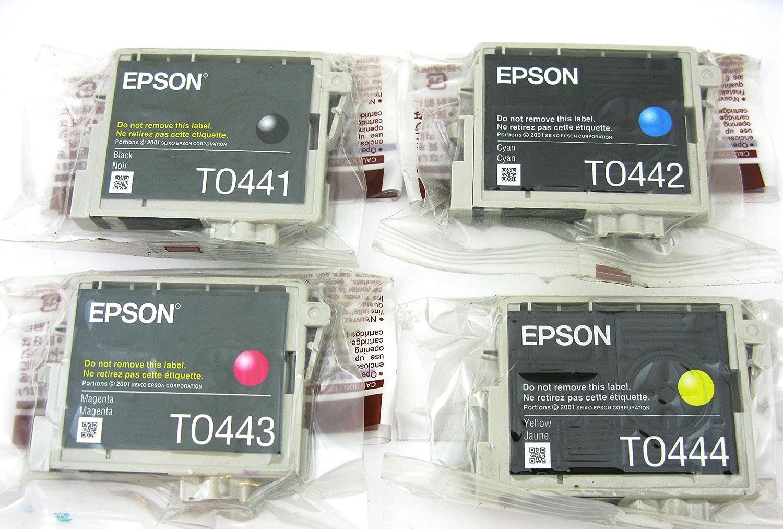 Genuine Epson T0441 T0442 T0443 T0444 Ink Cartridges 4 Tinta Printer L Series Original Magenta Pack In Bulk Packaging For Stylus C64 C66 C84 C86 Cx4600 Cx6400 Cx6600