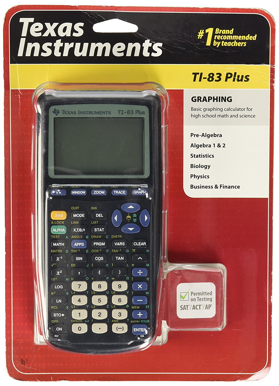 B00001N2QU Texas Instruments TI-83 Plus Graphing Calculator, Standard 91DJ8ujT5FL._SL1500_