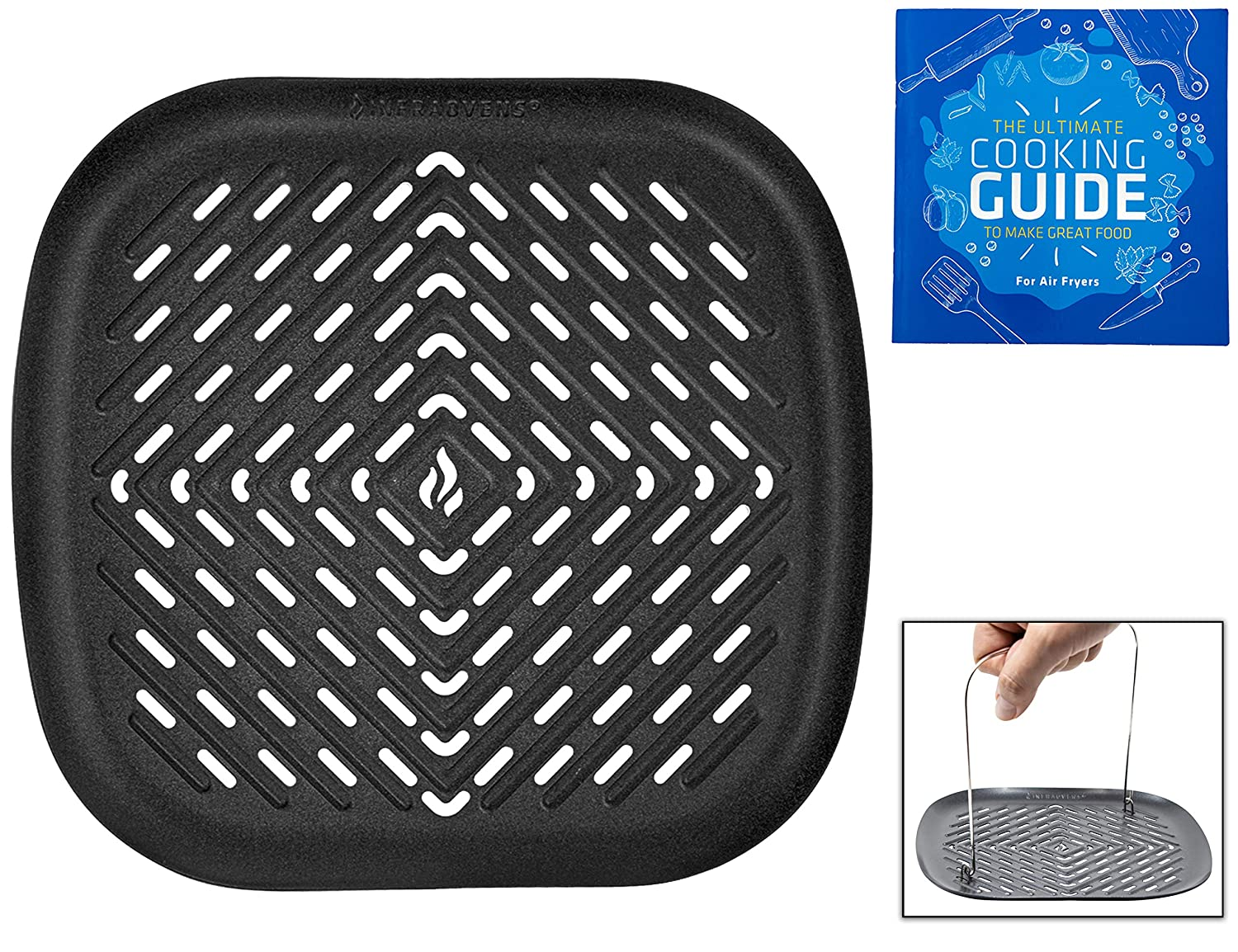 Air Fryer Grill Pan Set XXL Accessories Compatible with Philips Air Fryer, NuWave Brio, Chefman, Cozyna, Emerald, Power Air Fryer, Maxi Matic, Secura, Tidylife +More Fryer by Infraovens