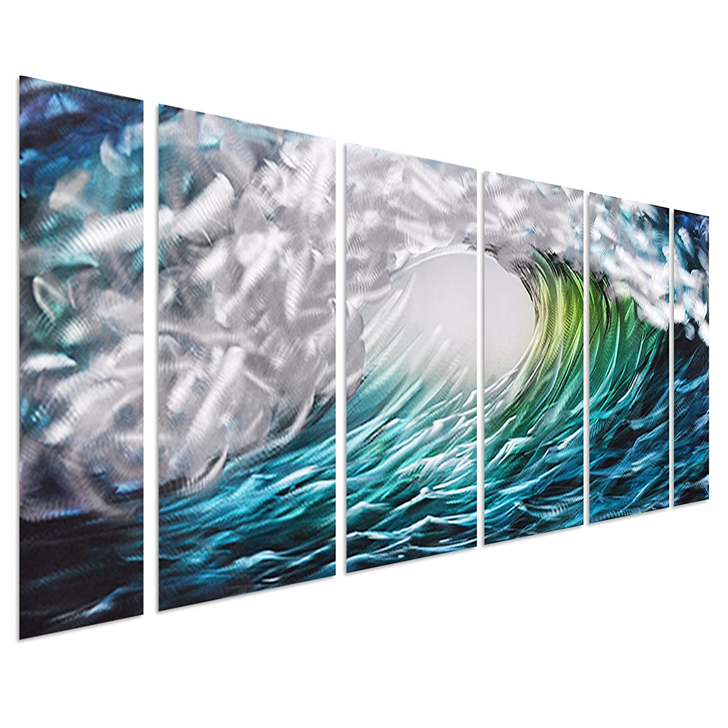Amazon pure art the great wave off kanagawa sea storm metal amazon pure art the great wave off kanagawa sea storm metal wall art decor aquatic beach of greens blues turquoises and silvers set of 6 amipublicfo Gallery