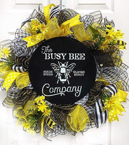 Deco Mesh Wreath Bumble Bee Wreath Everyday Wreath Year Round Wreath Summer Wreath Front Door Wreath