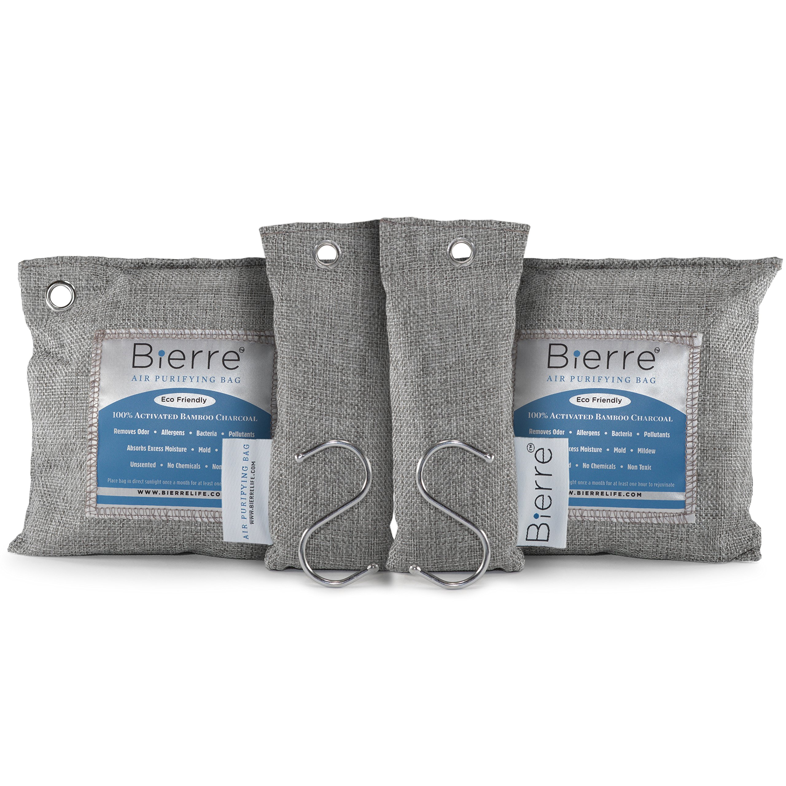 Bierre 4 Pack, 100% Bamboo Activated Charcoal Air Purifying Bags - Eco Friendly Natural Odor Remover - Unscented, Non Chemical - Removes Bacteria, Allergens, Pollutants, Absorbs Moisture, Mold, Mildew by Bierre (Image #1)