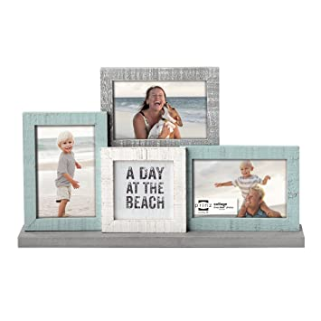 prinz sandy shores wood mantel collage frame whiteaquabeige