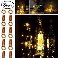 LED Bottle Cork Lights, Omew Wine Bottle Lights 2M/20LEDs Copper Wire String Lights for Bottle DIY, Parties, Wedding, Holiday Decor (8 Packs 2m/7.2ft Warm White)
