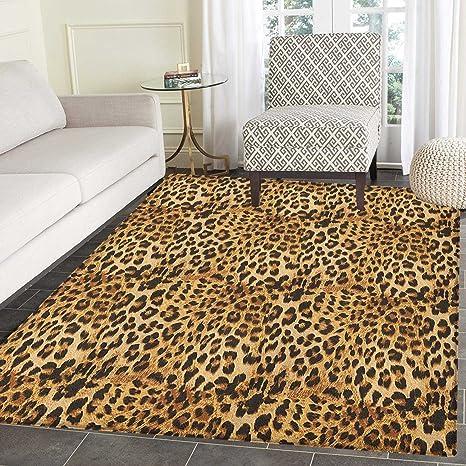 Amazon.com: Brown Print Area rug Leopard Print Animal Skin ...