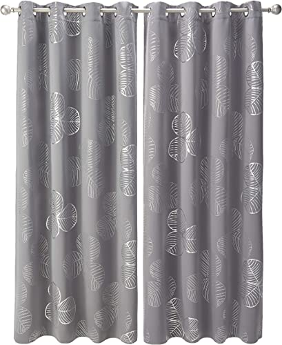 Deconovo Blackout Clover Leaf Printed Darkening Noise Reducing Curtains for Kids Room, W52 x L95 inch, Light Grey