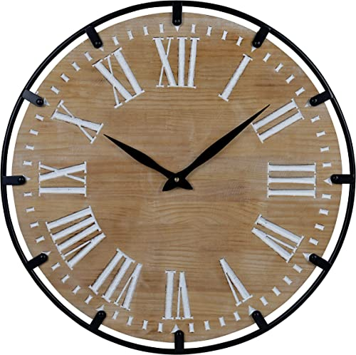 23-Inch Oversized Rustic Metal Solid Wood Silent Non-Ticking Battery Operated Decorative Wall Clock