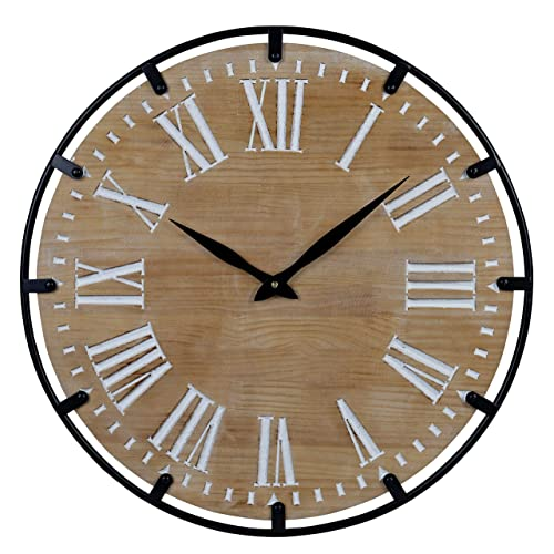 23-Inch Oversized Rustic Metal Solid Wood Silent Non-Ticking Battery Operated Decorative Wall Clock for Home Indoor Decor with Large Roman Numerals