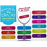 Clingks 12 Drink Markers - CHEERS AROUND THE WORLD - Fun Alternative to Wine Charms