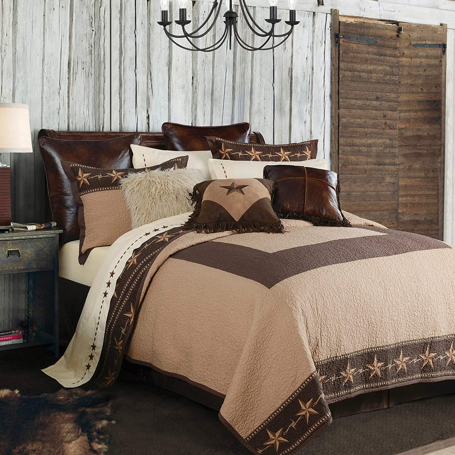 HiEnd Accents Star Ranch Reversible Western Cotton Quilt Set, Full/Queen, Tan & Brown, 3 PC